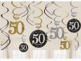 Black and Silver 50th Birthday Decorations 12 X 50th Birthday Hanging Swirls Black Silver Gold Party