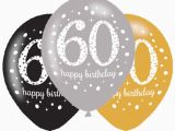 Black and Silver 60th Birthday Decorations 6 X 60th Birthday Balloons Black Silver Gold Party