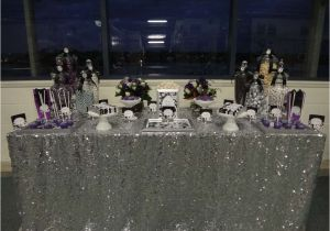 Black And Silver 60th Birthday Decorations Purple White Party Ideas