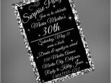 Black and Silver Birthday Invitations 30th Birthday Invitation 30th Black and Silver Invitation