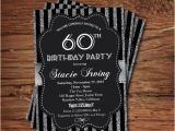 Black and Silver Birthday Invitations 60th Birthday Invitation Silver Glitter by