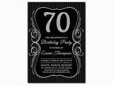 Black and Silver Birthday Invitations 70th Birthday Invitations Black Silver Glitter 70 Bday