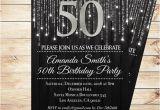 Black and Silver Birthday Invitations Black and Silver 50th Birthday Invitations by