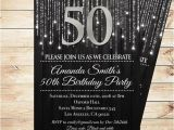 Black and Silver Birthday Invitations Black and Silver 50th Birthday Invitations by