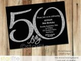 Black and Silver Birthday Invitations Black Silver Glitter 50th Birthday Invitation Modern