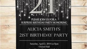Black and Silver Birthday Invitations Items Similar to Elegant Black and Silver 21st Birthday