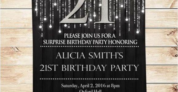 Black and Silver Birthday Invitations Items Similar to Elegant Black and Silver 21st Birthday