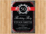 Black and Silver Birthday Invitations Silver Black Red Birthday Party Invitation Chalkboard Adult