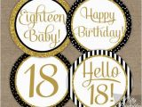 Black and White 18th Birthday Decorations 18th Birthday Cupcake toppers Black Gold Glitter 18th