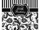 Black and White 30th Birthday Invitations Black and White Floral Stripe 30th Birthday Invite 13 Cm X