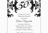 Black and White 50th Birthday Invitations Black and White Decorative Framed 50th Birthday