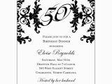 Black and White 50th Birthday Invitations Black and White Decorative Framed 50th Birthday