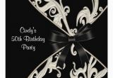 Black and White 50th Birthday Invitations Black White Swirl 50th Birthday Party 5 25 Quot Square