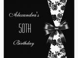 Black and White 50th Birthday Invitations Damask Black White 50th Birthday Invitation Floral 5 25