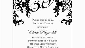 Black and White 50th Birthday Party Invitations Black and White Decorative Framed 50th Birthday