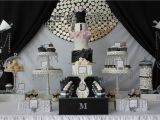Black and White Decorations for Birthday Party events by Nat Runway Catwalk Black White Dessert Table