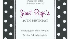 Black and White Polka Dot Birthday Invitations Black and White Polka Dot Invitations