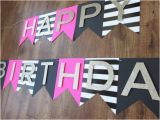 Black and White Striped Happy Birthday Banner Kate Spade Party theme Happy Birthday Banner Pink Gold