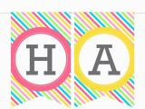 Black and White Striped Happy Birthday Banner Printable Birthday Banner In Stripes Instant Download