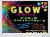 Black Light Birthday Party Invitations Glow In the Dark Black Light Birthday Party Invitation Digital