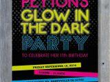 Black Light Birthday Party Invitations Glow In the Dark Party Invitation for Birthday Black Light