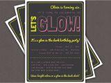 Black Light Birthday Party Invitations Glow In the Dark theme Birthday Party Invitation Custom