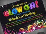 Black Light Birthday Party Invitations Glow Neon Black Light Party Customized Printable Invitation