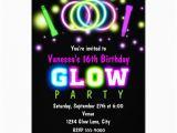 Black Light Birthday Party Invitations Glow Party Birthday Neon Black Light Invitation Zazzle