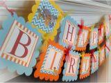 Blue and orange Happy Birthday Banner Disney Lion Guard Happy Birthday Banner orange Stripes