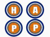 Blue and orange Happy Birthday Banner Nerf Happy Birthday Banner