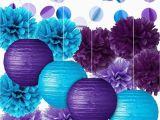 Blue and Purple Birthday Decorations Party Decoration Kit Purple Blue Tissue Paper Pom Poms