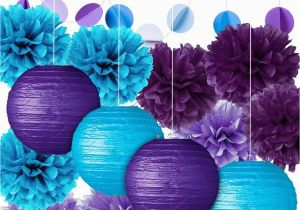 Blue And Purple Birthday Decorations Party Decoration Kit Tissue Paper Pom Poms