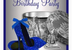 Blue And Silver Birthday Decorations Personalized Womans Royal 60th Invitations