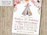 Boho Chic Birthday Invitations Boho Chic Birthday Invitation Teepee Tribal Invitation