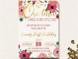 Boho Chic Birthday Invitations First Birthday Invitation Floral Boho Chic Invite One Little