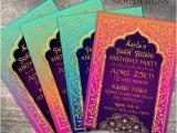 Bollywood Birthday Invitations Arabian Nights Bollywood theme Birthday Invitation Card