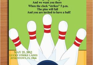 Bowling Alley Birthday Party Invitations Customized Printable Invitation