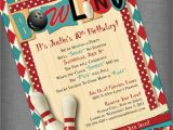 Bowling Alley Birthday Party Invitations Bowling Party Customized Printable Invitation