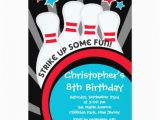 Bowling Alley Birthday Party Invitations Fun Bowling Boys Birthday Party Invitations Zazzle