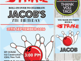 Bowling Alley Birthday Party Invitations Red Blue Bowling Birthday Party Invitation Personalized