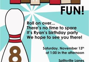 Bowling Birthday Party Invitation Wording Retro Fun Blue Brown Printable