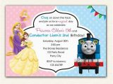 Boy and Girl Joint Birthday Invitations Thomas Train and Disney Princess Birthday Invitation