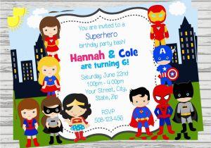 Boy Girl Twin Birthday Invitations Boy and Girl Superheroes Twins Joint Party Custom Digital