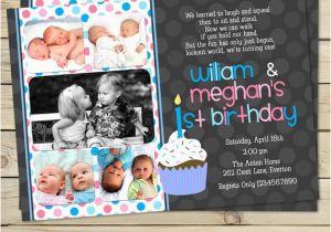 Boy Girl Twin Birthday Invitations Boy Girl Twin 1st Birthday Invitation Blue Pink Double