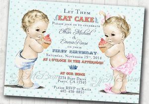 Boy Girl Twin Birthday Invitations Boy Girl Twins First Birthday Invitation for Twins Boy and