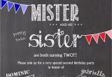 Boy Girl Twin Birthday Invitations Twin Birthday Invitation Two Years Old Boy Girl Twins