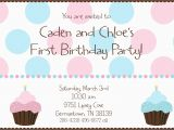 Boy Girl Twin Birthday Invitations Twin First Birthday Cupcake Birthday Party Invitation