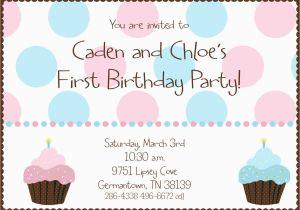 Boy Girl Twin Birthday Invitations Twin First Birthday Cupcake Birthday Party Invitation