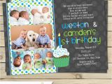 Boy Girl Twin Birthday Invitations Twin First Birthday Invitation Boy Twin 1st Birthday Invite