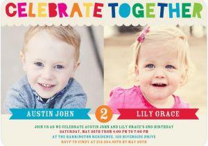 Boy Girl Twin Birthday Invitations Twins Bday Invites Tiny Prints Mixed Gender Celebrate